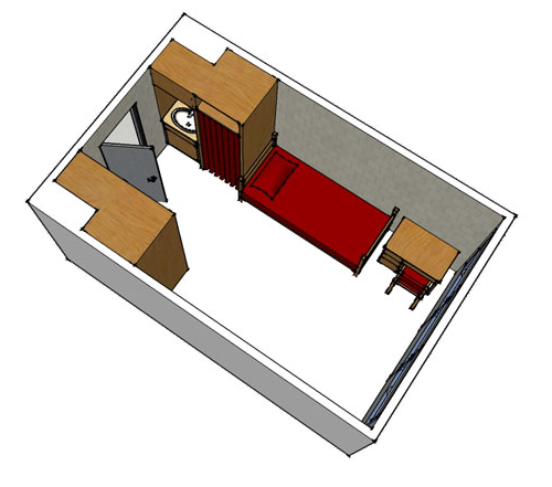 floor plan image for a standard two bed room, two beds, two desks, two closets, a set of drawers and a sink area