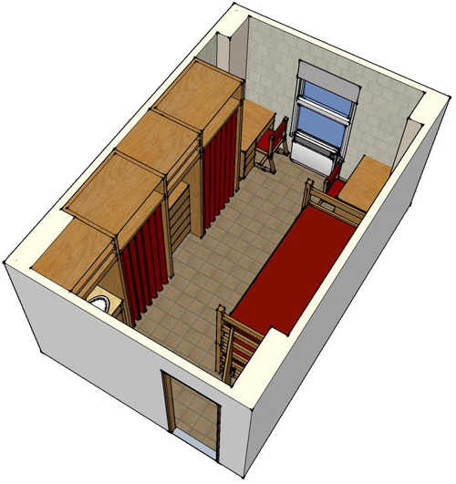 floor plan image for a corner room, two beds, two desks, two closets, a set of drawers and a sink area