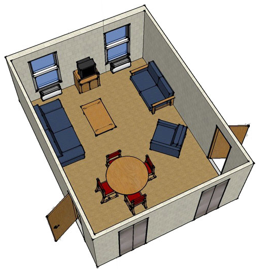 floor plan image for floor lounge, shows common area with couch, chairs, table and chairs, and television