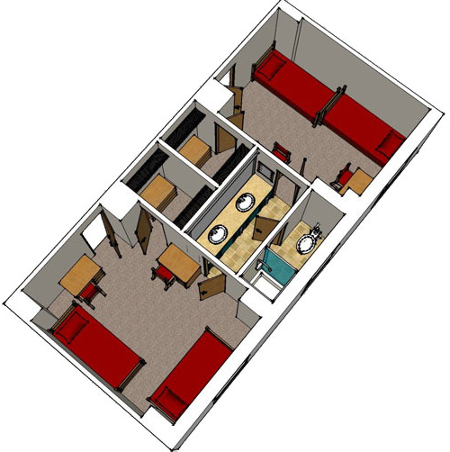 floor plan image for two double room with adjoining bathroom suite