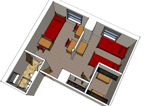 floor plan image for triple room with bathroom