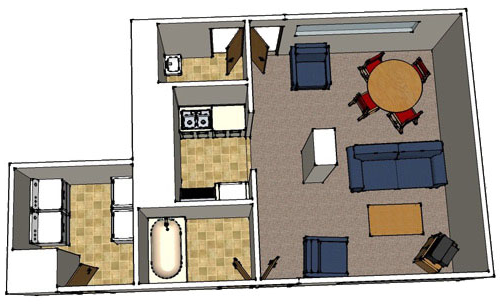 floor plan image for floor lounge, shows common area, kitchenette, laundry, tub and sink