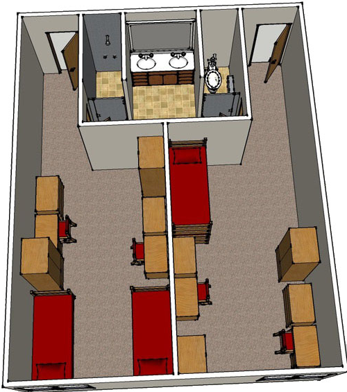 floor plan image for four person suite room with shared bathroom